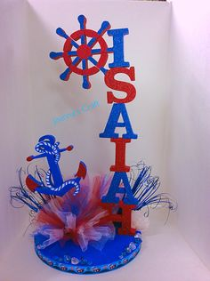 Anchor the centerpiece Sailor Baby Showers, Anchor Baby Showers, Sailor Birthday, 1st Boy Birthday, Baby Shower Decorations For Boys, Baby Shower Centerpieces, Baby Shower Parties, Baby Boy Shower, Sailor Theme