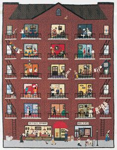 OMGosh these quilts are amazing click on the link to go through to close-ups so much detail, so humorous.    Quilt by Linda Cantrell, 2003Size: 59 x 78Do people really know their neighbors? Linda poses this question in, The Apartment, which illustrates the endless possibilities of who, or what, could be living next door. In the details below, patrons dine at Sam n Ellas Restaurant while Elvis hangs his laundry on the line upstairs. Can you spot any other odd characters?