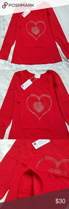 New! Gorgeous Red Sparkle Top! Brand spanking new with sparkly heart details. High quality. 95% Polyester, 5% Spandex. Perfect for holidays, Valentines Day etc Xcel Couture Tops