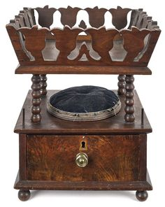 Pennsylvania walnut sewing basket, ca. 1825,