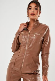 Order today & shop it like it's hot at Missguided. Leather Jumpsuit, Leather Jacket, Discount Shopping, Missguided, Jumpsuits For Women, Vintage Leather, Cool Style, Toffee, Cool Designs