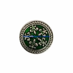 #4056 Green Metal Fleur-De-Lis Snap 20mm for Snap Charm Jewelry