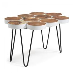 Faina coffee table 80 x 54 cm. Coffee table with solid teak wood ovals. Natural Wood Coffee Table, Steel Coffee Table, Reclaimed Wood Coffee Table, Lift Top Coffee Table, Round Coffee Table, Coffee Table With Storage, Antique Coffee Tables, Coffee Tables For Sale, Online Furniture Stores