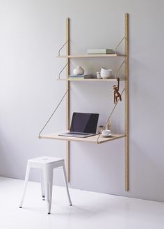 Wall-mounted sectional walnut #bookcase ROYAL SYSTEM by DK3 | #design Poul Cadovius #desk