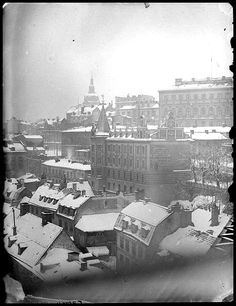 Nordic Thoughts: Snowy roofs… Mosebacke in Stockholm, ca. Stockholm City, Stockholm Sweden, Old Pictures, Old Photos, Norway Sweden Finland, About Sweden, Visit Denmark, Mina, Facades