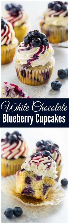 Stunning and delicious, these White Chocolate Blueberry Cupcakes are a must bake for blueberry lovers! Stunning and delicious, these White Chocolate Blueberry Cupcakes are a must bake for blueberry lovers! Brownie Desserts, Just Desserts, Delicious Desserts, Dessert Recipes, Yummy Food, Delicious Cupcakes, Gourmet Cupcakes, Baking Desserts, Baking Recipes Cupcakes