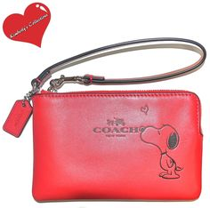 COACH X Peanuts SNOOPY Ltd. Ed Red Calf Leather Wristlet Clutch Wallet NWT  #Coach #TotesShoppersWristletClutchCosmeticbags