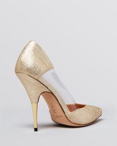 a4a11de5660 Rachel Zoe Pointed Toe Pumps - Clover Vinyl Side High Heel