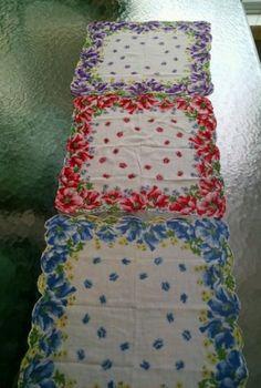 Vintage-Womens-Floral-Cotton-Handkerchief-Set-of-3-Red-Blue-Purple1947-1964