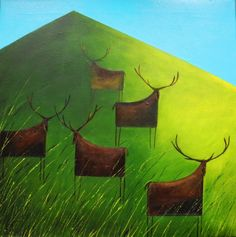Stags on Green Hill (limited edition print)