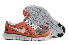 Fake Womens Nike Free Runs Orange Grey White Shoes  ONLY $39.65  Save:60% off