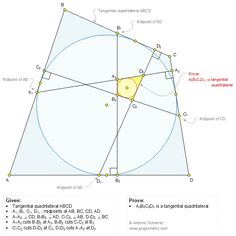 Geometry Problem 1351: Two Tangential or Circumscribed Quadrilaterals, Midpoints, Perpendiculars. Math Infographic, Tutor