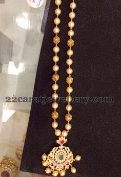 Jewellery Designs: Pearls Chain with CZ locket 24gms