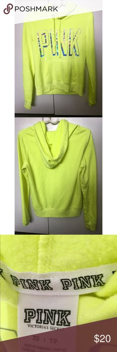 PINK Victoria's Secret Neon Pullover Hoodie - Only worn a few times - In good condition  - Cute and comfortable hoodie PINK Victoria's Secret Tops Sweatshirts & Hoodies