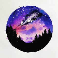 """Milky way""  Watercolor galaxy painting  #forest silhouette #galaxy"