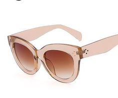 8f564eb994e1 Champagne Transparent Frame Cat Eye Sunglasses Retro Vintage women FREE  SHIPPING 883121941861