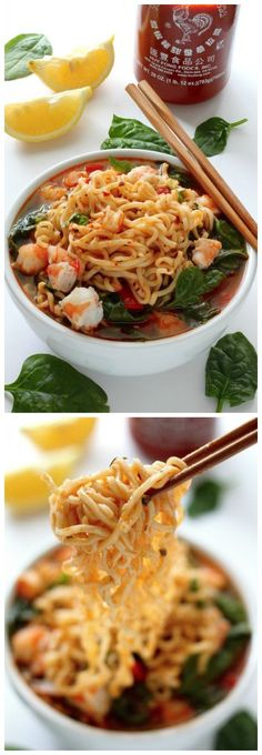 Sriracha Shrimp Ramen Noodle Soup - so amazing and ready in just 20 minutes! Sriracha Shrimp Ramen Noodle Soup - so amazing and ready in just 20 minutes! Ramen Recipes, Seafood Recipes, Asian Recipes, Cooking Recipes, Healthy Recipes, Best Ramen Recipe, Healthy Ramen, Healthy Food, Asian Desserts