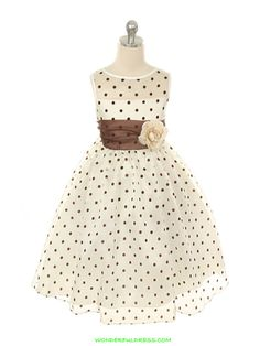 Ivory / Brown Lovely Organza Polka Dots Flower Girl Dress