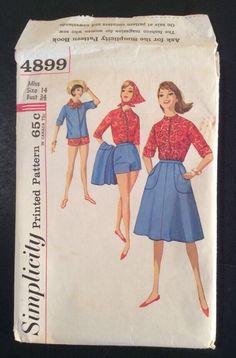 Vtg Simplicity Sewing Pattern 4899 Wraparound Skirt Shirt Scarf Shorts (249bef)