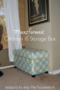 Ottoman to Storage Box // Reasons To Skip The Housework Storage Ottoman Coffee Table, Fabric Storage Ottoman, Fabric Storage Boxes, Diy Ottoman, Ottoman Cover, Fabric Bins, Table Storage, Coffee Tables, Furniture Projects