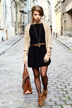 Women's Dresses – wie man Winterstrumpfhosen beste Outfits trägt - 2019 Mode Mode Outfits, Casual Outfits, Fashion Outfits, Womens Fashion, Casual Black Dress Outfit, Black Stockings Outfit, Black Tights Outfit, Fashion Ideas, Fashion Shoes