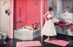 1956 American Standard Bathroom in Pink and Gray - Vintage Bathroom - Retro Midcentury Interiors Vintage Year, Vintage Room, Vintage Pink, Vintage Homes, Vintage Barbie, Vintage Bathrooms, Pink Bathrooms, 1950s Bathroom, Bathroom Modern