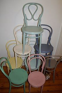 Amazing Bentwood Chairs In Different Pastels For The Dining Room Drop Leaf