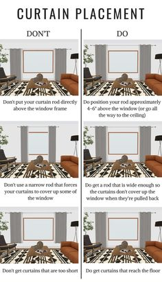 the do's and don'ts of curtain placement - how high should I hang my curtains above the window? How long do my curtains need to be? curtains THE DO'S + DON'TS OF CURTAIN PLACEMENT Curtains Living, Hanging Curtains, Bedroom Curtains, Window Curtains, How To Hang Curtains, Custom Curtains, Kitchen Curtains, Küchen Design, House Design