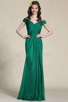 Robe de soirée longue drapée vert émeraude