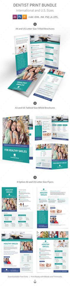 Dentist Print Bundle Informational Brochure Template by Mike_pantone. Brochure Design, Brochure Template, Flyer Design, Advertising Tools, Banner, Flyer Printing, Layout, Modern Prints, Print Templates