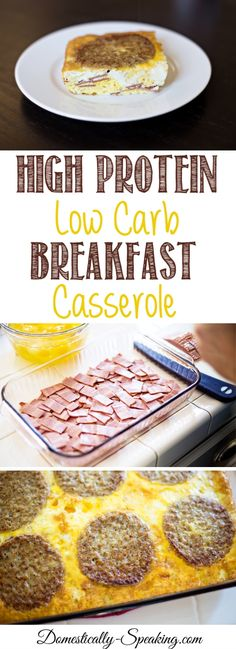 High Protein Low Carb Breakfast Casserole packed with eggs, turkey bacon and sausage with 37 grams of protein per serving