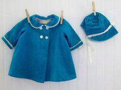 Vintage Baby Clothes, Corduroy Teal Coat and Sun Bonnet, 3-9 months