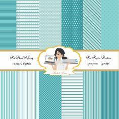 Kit papéis digitais Azul Tiffany - Michele Artes