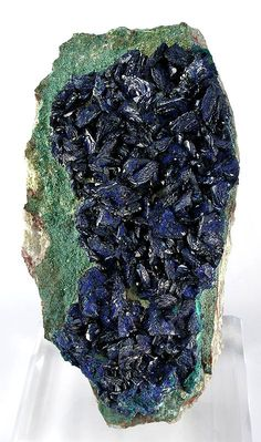 Azurite on chrysocolla-coated Malachite with druse of light green malachite under the azurite / Mineral Friends <3