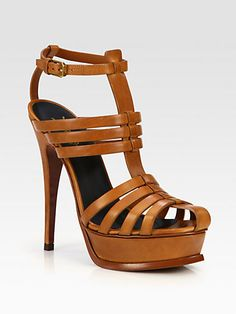 Saint Laurent - Tribute Leather Platform Sandals - Saks.com