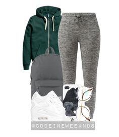 A fashion look from October 2015 featuring NIKE athletic shoes, Herschel Supply Co. backpacks e Benetton eyeglasses. Browse and shop related looks. Lazy Day Outfits, Chill Outfits, Nike Outfits, College Outfits, Swag Outfits, Everyday Outfits, Casual Outfits, Urban Fashion, Teen Fashion