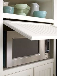 "Hidden microwave love this idea!...love this cuz no one wants to see the ""dirty ole"" microwave"