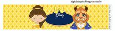 """Kit de Personalizados Tema """"A Bela e a Fera"""" para Imprimir - Convites Digitais Simples"""