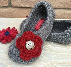 Ladies Slippers Solid Color with Flower and Button by GrammaLeas