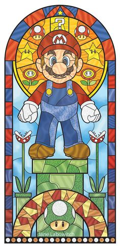 Cool stained glass Super Mario - by Jane Labowitch Super Mario Bros, Super Mario Kunst, Super Nintendo, Gamify Your Life, Geeks, Mario Und Luigi, Culture Art, Poster Art, Mario Party