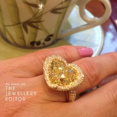The most romantic #yellowdiamond ring on #bondstreet is perhaps the @chopard heart shaped one #engagementring #hearts #wedding See more at www.thejewelleryeditor.com