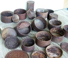 Round Rusty Cans and Tins Scrap Metal Industrial by HighDesertRust