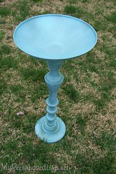 giant candlestick + pot lid + spray paint = a beautiful bird bath! by ChristieC giant candlestick + Garden Crafts, Garden Projects, Diy Projects, Garden Ideas, Garden Inspiration, Backyard Projects, Cool Diy, Easy Diy, Outdoor Projects