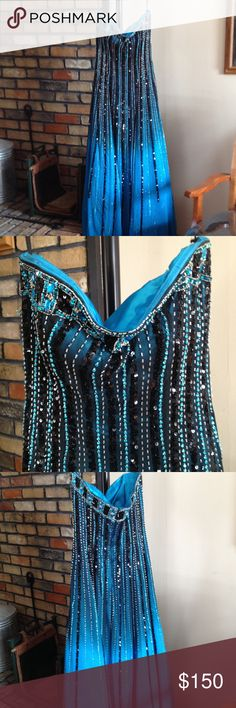 Glitz Prom Dress EUC - worn once for a couple hours. Strapless, long dress. Teal & Black with sequins. Was not altered. No rips or stains. Smoke-free home. Has been stored in a bag. Glitz Dresses Prom
