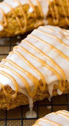 Pumpkin Scones {Starbucks Copycat} - Cooking Classy Pumpkin Scones (Starbucks Copycat) Recipe ~ soft and moist Pumpkin Recipes, Fall Recipes, Brunch Recipes, Sweet Recipes, Breakfast Recipes, Pumpkin Buns Recipe, Pumpkin Cinnamon Rolls, Fall Trends, Pumpkin Carving