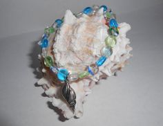 Sea Colored Glass Beaded Bracelet With by AvaJuliannaDesigns, $17.00