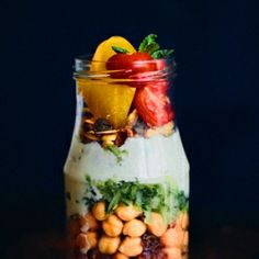 Chickpea with herbs and vegetables in a jar. Perfect for breakfast or picnic!