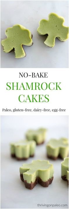St. Patty's Day No-Bake Shamrock mini cakes - a paleo, gluten-free, egg-free naturally colored dessert or snack recipe. The cake is a cross between a dairy-free cheesecake and a panna cotta and has a chocolate no-bake pie crust. Kid friendly too!