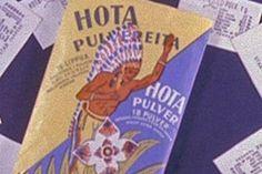 """TV-mainokset """"Ota Hota – ei pakota"""", sanottiin vanhoissa lääkemainoksissa. Hota-pulveria kutsuttiin myös intiaanipulveriksi, mikä näkyy esimerkkimainoksess..."""