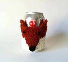 Crochet Fox Soda Pop Can Cosy Bottle Koozie in by KnitADeeDooDah, £7.50